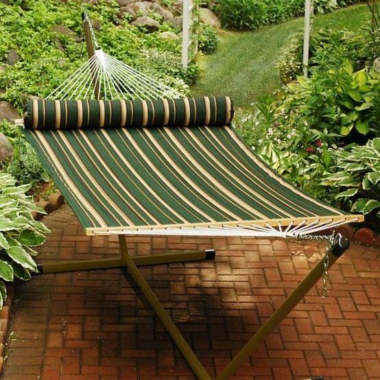 hamaca verde base madera colgante soporte