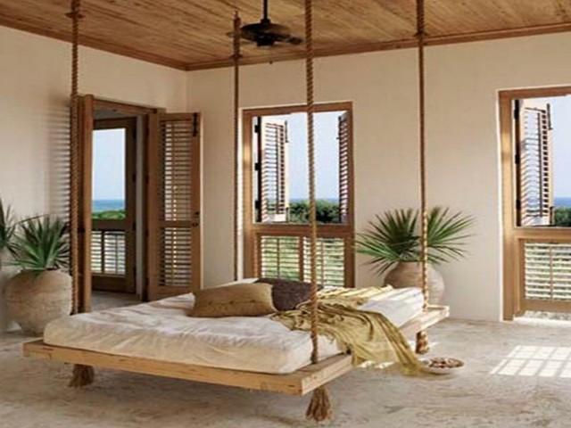 hamacas colgantes lujosa salon madera