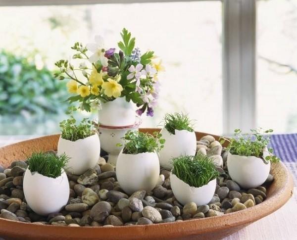 huevos adorno piedras flores adorno mesa