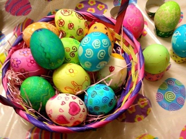 huevos de pascua canasta pintura fiesta