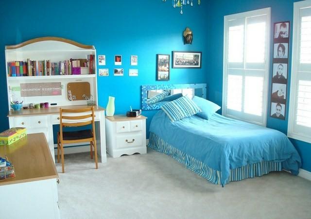 habitaciones juveniles idea chica azul comoda