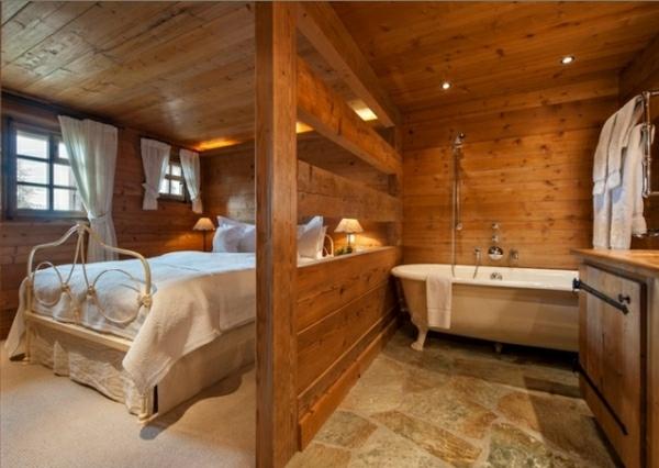 idea baño rustico abierto dormitorio suelo piedra madera