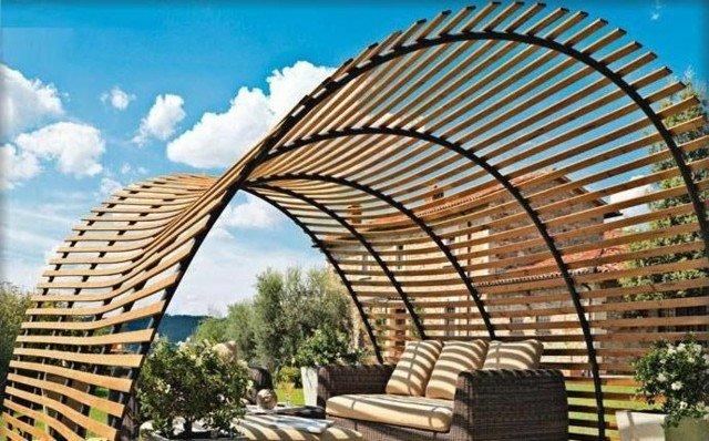 pérgola idea interesante jardin sombra muebles ratan cielo