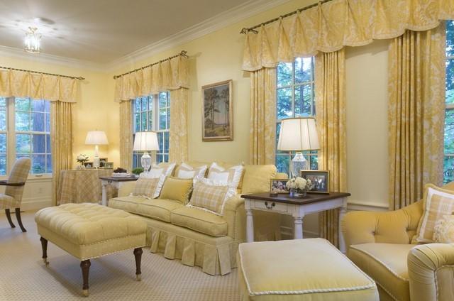 idea tradicónal cortinas salon amarillas estampa