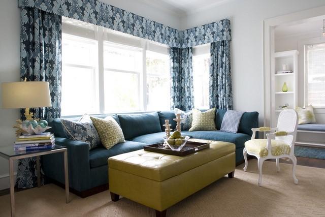 ideas cortinas diseño estampados distinta gama azul