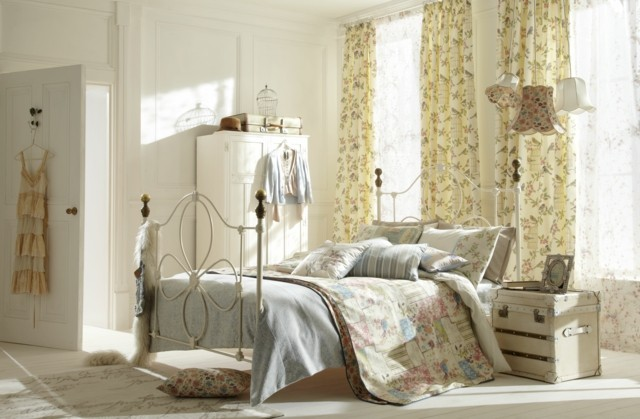 ideas dormitorio cortinas motivos bonito florales luminoso colores claros