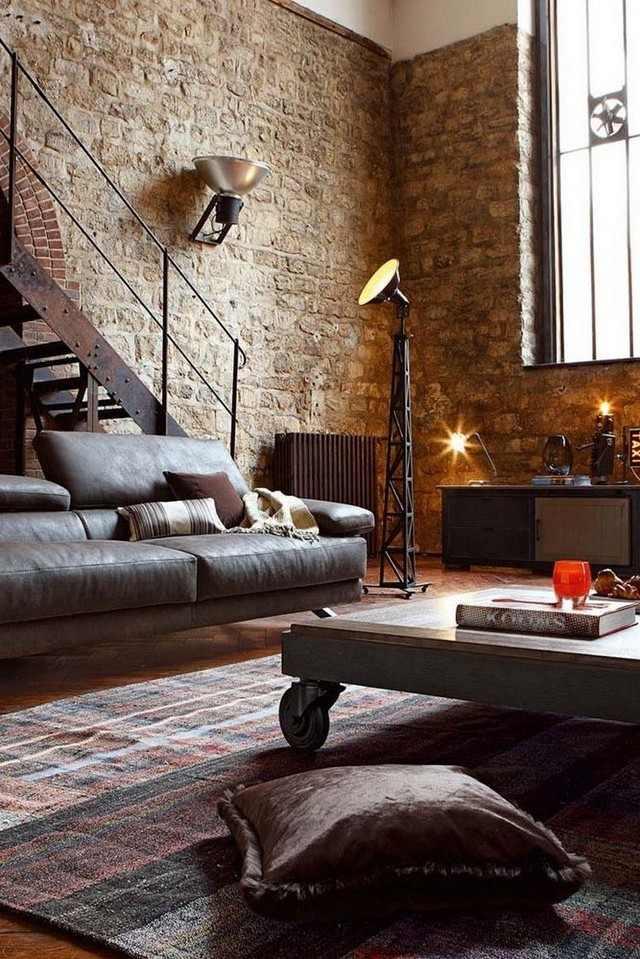 ideas ladrillo salon escalera acero interesante bonito