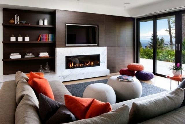 ideas modernas muebles pared madera marron
