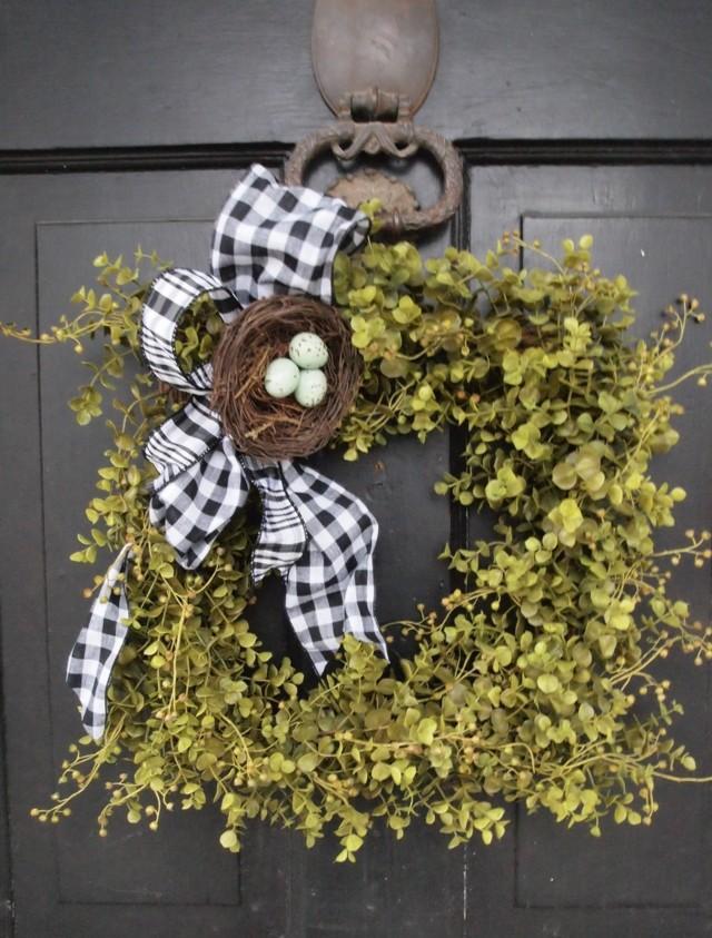 ideas pascua huevos puerta decoracion moderno