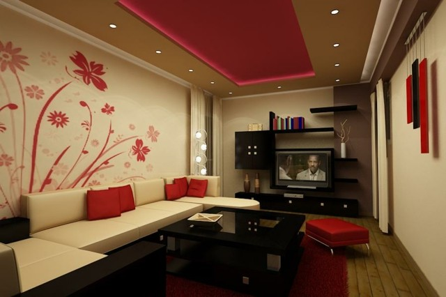 ideas salon dibujo flores pared rojo blanco combinacion