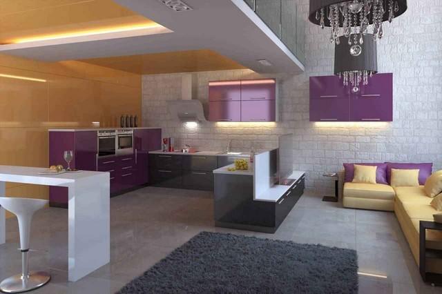 ideas salon espacioso blanco purpura bonito lampara