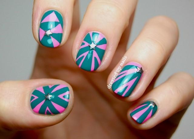 ideas uñas azul rosa decoracion moderno estrellas