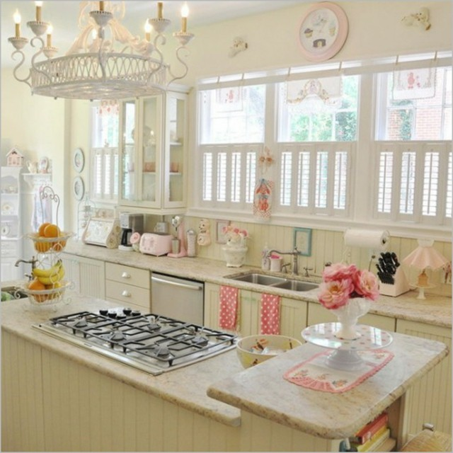 inspiracion rosa blanco cocina vintage bonita lampara