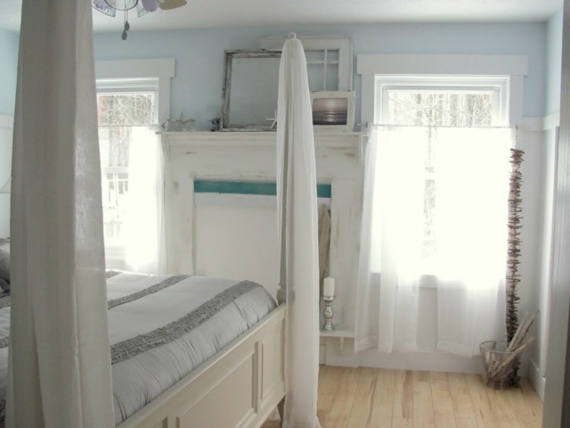 interior dormitorio bonito pared azul claro interesnate idea