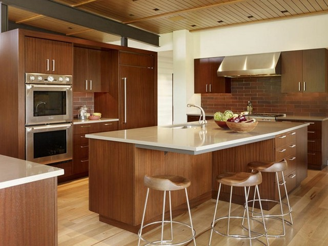 isla cocina marron amplia bonita extravagante moderna