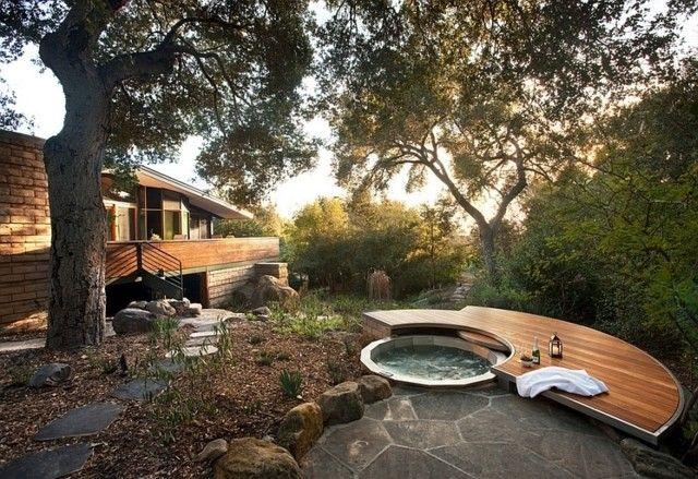 bañera naturaleza jardín trasero campo