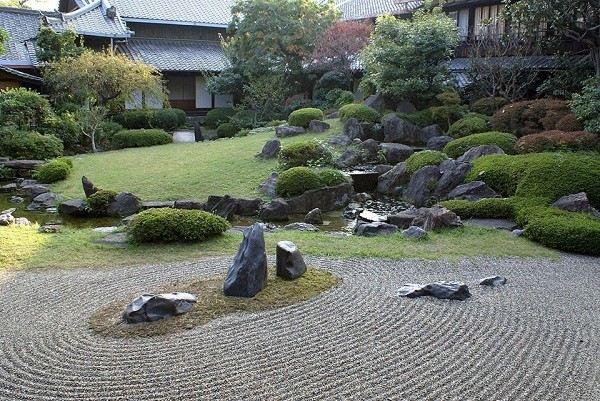 japones estilo rocas lago meditación pendiente