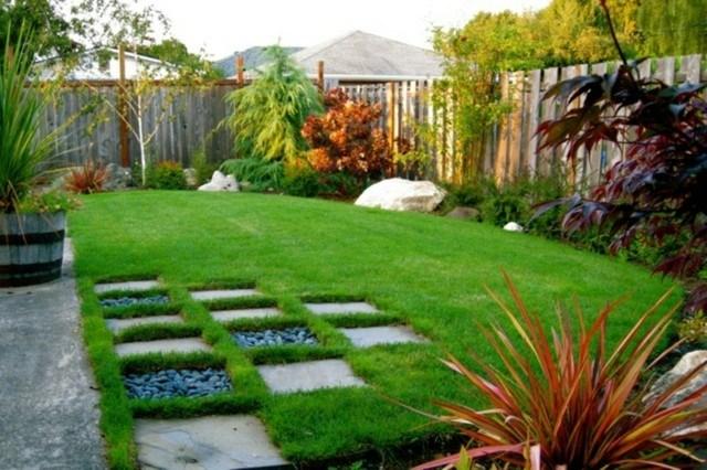 jardin contemporaneo losas piedra cesped