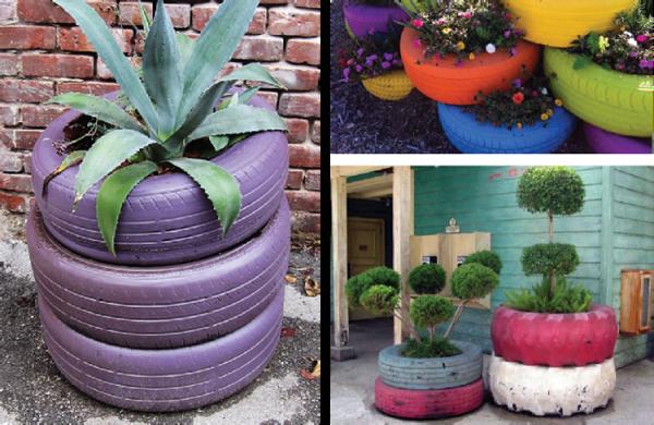 jardin decoracion plantas neumaticos jardinera