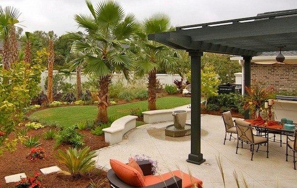 jardin diseño moderno palmera muebles