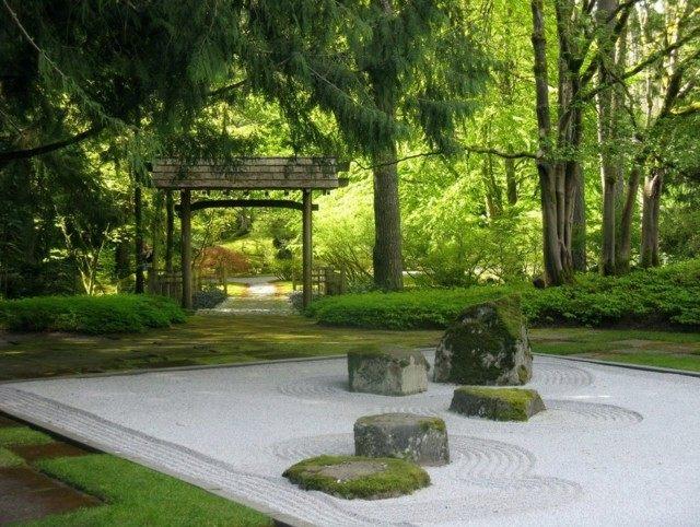 jardín japonés bosque rocas meditacion