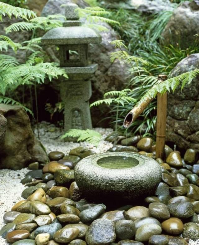 jardín japonés piedras agua rocas