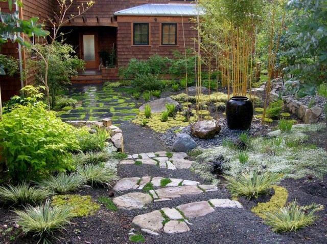 jardín japonés rocas bambu plantas