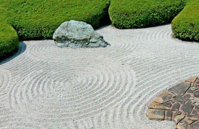 jardín japonés rocas circulos plantas