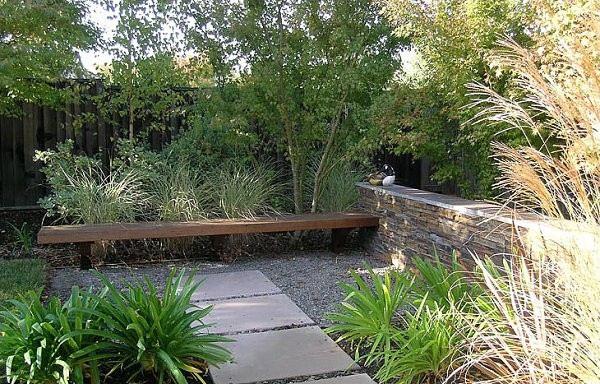 jardin mesa terraza diseño rocas banco