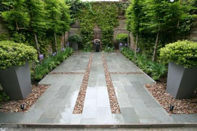 jardin moderno contemporaneo cemento piedras