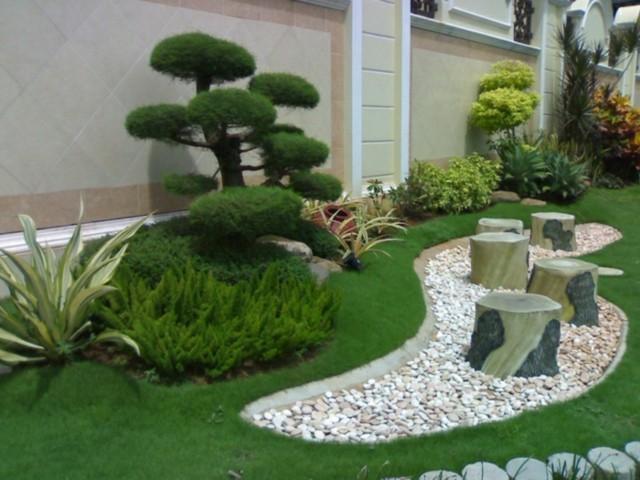 jardin moderno terraza plantas piedras