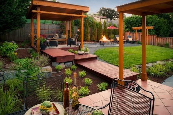 jardin sillas metalicas techado exterior flores