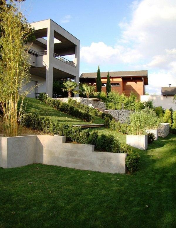 jardinería en pendientes contenedores jardinera terraza