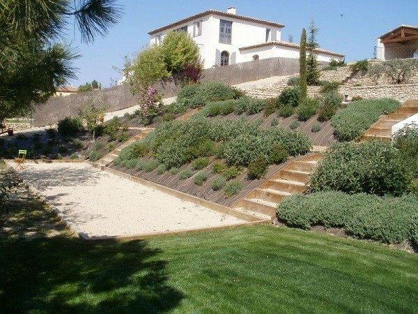 jardinería en pendientes contenedores malla patio