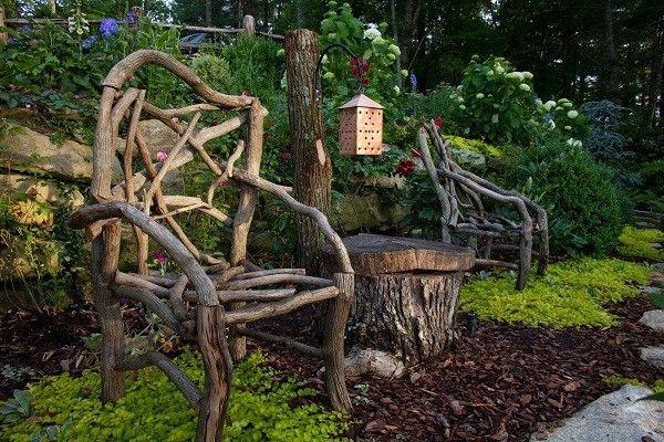 jardinería paisaje silla madera deriva