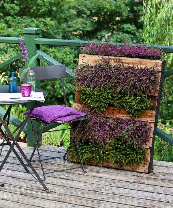 jardines verticales terraza palet silla