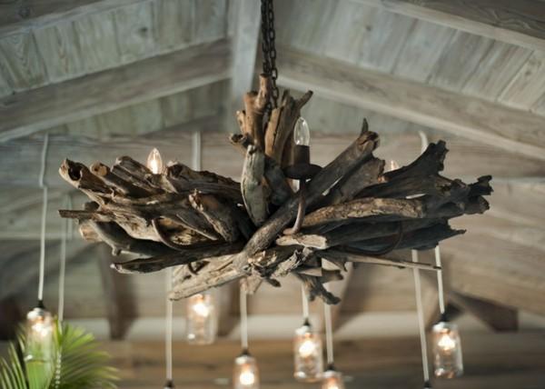 lámpara grande flor madera pesada