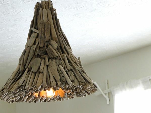 lámpara volcán invertido madera original