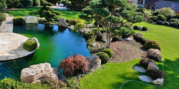 lado de jardin colorido estanque