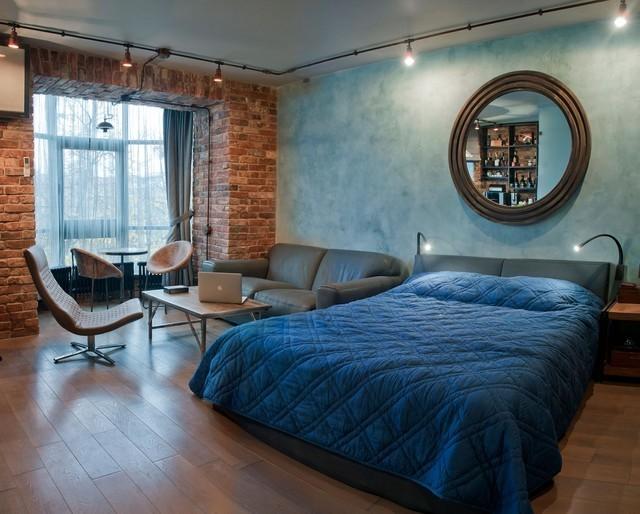ladrillo ventana dormitorio pared combinacion azul