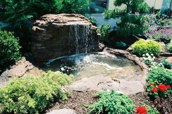 lagos estanques jardn cascada piedras