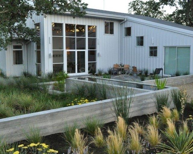 laguna plantas muro flores jardines diseño