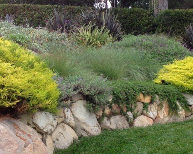 lajas flores piedras plantas muro