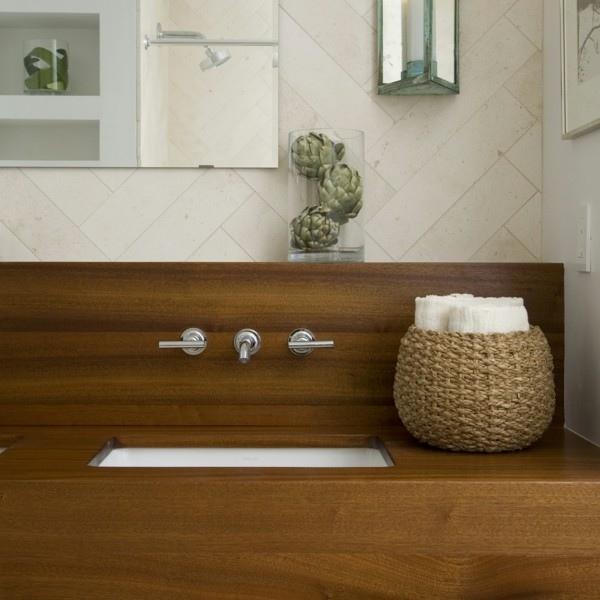 lavabo madera cubierto elegante laminado