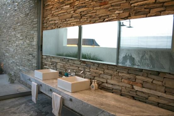 lavabos baño moderno rocas iluminacion ceramica