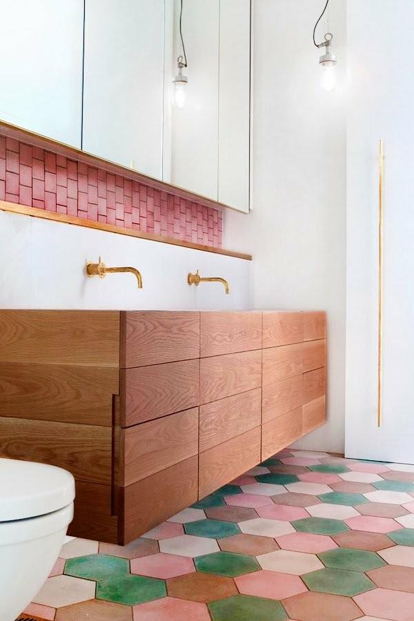 lavabos laminados madera roja mueble