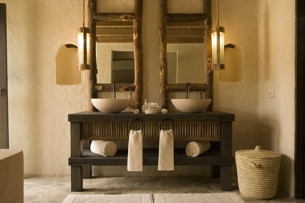 lavabos mueble espejos madera rústico