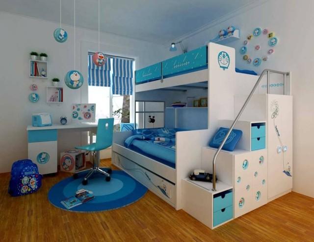 literas infantiles ideas divertidas azul blanco dos moderna camas