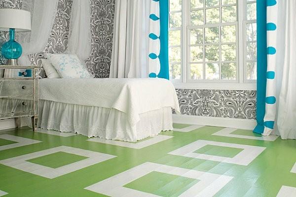 losetas vertes habitación romántica blanca