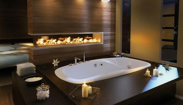 lujosa bañera pared laminada chimenea